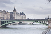 Palace Bridge Prints - The Conciergerie Across The River Seine Print by Julian Elliott Ethereal Light