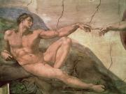 Chapel Painting Metal Prints - The Creation of Adam Metal Print by Michelangelo Buonarroti