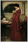 Victorian Era Prints - The Crystal Ball Print by John William Waterhouse