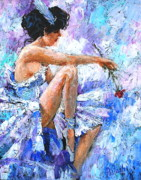 Blue Flowers Paintings - The Dancer by Igor Postash