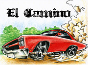 Custom Ford Drawings Metal Prints - The El Camino Metal Print by Big Mike Roate