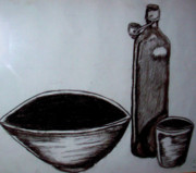 Glass Bottle Drawings - The empty bowl by Eloudi Coetzer