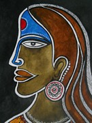 Indian Tribal Art Drawings - The Face by Paritosh Pal