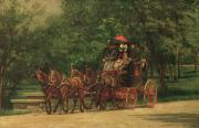 Greens Framed Prints - The Fairman Rogers Coach and Four Framed Print by Thomas Cowperthwait Eakins