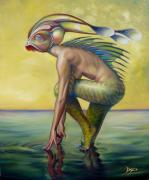 Mermaid  Paintings - The Finandromorph by Patrick Anthony Pierson