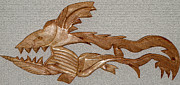Prints Sculpture Originals - The Fish Skeleton by Robert Margetts