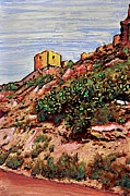 Spain Mixed Media Framed Prints - The Fort in Lorca 2 Framed Print by Sarah Loft