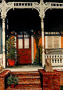 Old Houses Drawings - The Front Porch by Lois Guthridge