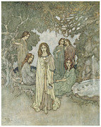 Make Believe Painting Posters - The Garden of Paradise Poster by Edmund Dulac