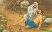 Biblical Pastels Framed Prints - The Good Samaritan Framed Print by Robert Casilla