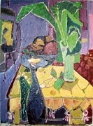 Table Cloth Paintings - The Green Vase by Joseph Mamos