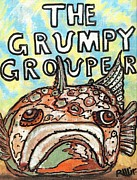 Modernism Mixed Media - The Grumpy Grouper by Robert Wolverton Jr
