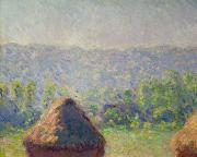 Field Of Crops Prints - The Haystacks Print by Claude Monet
