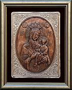 Jesus Reliefs Posters - The Holly Mother with Jesus Christ Poster by Netka Dimoska