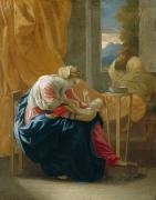 Christ Painting Posters - The Holy Family Poster by Nicolas Poussin