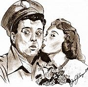 Celebrity Portrait Drawings Posters - The Honeymooners Poster by Jason Kasper