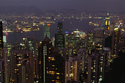 The Hong Kong Skyline Seen Print by Justin Guariglia