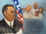 Education Paintings - The Honorable Amos T. Hall by Catherine Lawhon