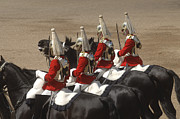 Dress Uniform Posters - The Household Cavalry Performs Poster by Andrew Chittock