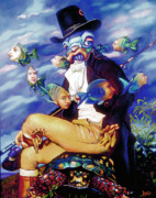 Mermaid Art Paintings - The Incompleat Angler by Patrick Anthony Pierson