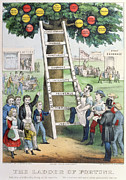 Climbing Painting Posters - The Ladder of Fortune Poster by Currier and Ives