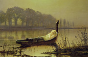 Boat  Posters - The Lady of Shalott Poster by John Atkinson Grimshaw
