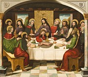 Blessing Painting Framed Prints - The Last Supper Framed Print by Master of Portillo