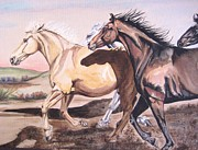 Herd Of Horses Paintings - The Leader by Dee Elliott