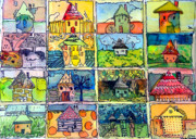 Funny Mixed Media Framed Prints - The Little Houses Framed Print by Mindy Newman