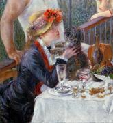 Oil Wine Framed Prints - The Luncheon of the Boating Party Framed Print by Pierre Auguste Renoir