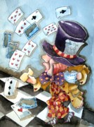 Alice In Wonderland Metal Prints - The Mad Hatter Metal Print by Lucia Stewart
