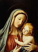 Prayer Card Prints - The Madonna and Child Print by Il Sassoferrato