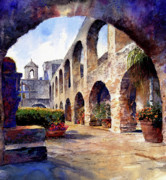 Buildings Tapestries Textiles Originals - The Mission by Andrew King