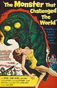 1950s Poster Art Photo Framed Prints - The Monster That Challenged The World Framed Print by Everett