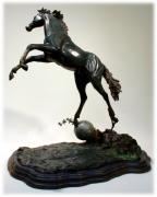 Bronze Sculpture Metal Prints - The Moonhorse Bronze  Metal Print by Dawn Senior-Trask