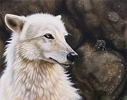 Wolf Portrait Paintings - The Mouse by Sandi Baker