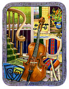 Staircase Painting Originals - The Music Lesson by Anne Gifford