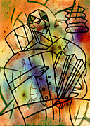 Form Pastels Posters - The Musician Poster by Renate Dartois