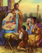 Mary Pastels Posters - The Nativity Poster by Valerian Ruppert