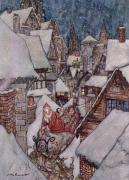 Santa Reindeer Posters - The Night Before Christmas Poster by Arthur Rackham