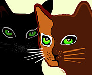 Cat Prints - The Ocicat And The Black Cat Print by Marian Cates