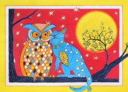 Cat And Moon Paintings - The Owl and the Pussycat by Renata Wright