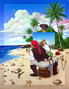 Deserted Island Prints - The Painting Pirate Print by Snake Jagger