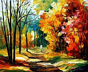 Woods Painting Originals - The Path Of Sun Beams by Leonid Afremov