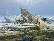 Pole Painting Prints - The Polar Sea Print by Caspar David Friedrich
