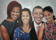 Michele Obama Paintings - The President and Family by G Cuffia