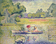 Lady In Lake Painting Posters - The Promenade in the Bois de Boulogne Poster by Henri-Edmond Cross