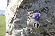 Award Posters - The Purple Heart Award Hangs Poster by Stocktrek Images