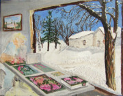 Snow Scene Mixed Media Prints - The Puzzle Worker Print by Karen Stout Heller
