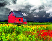 Gina Signore Digital Art - The red barn by Gina Signore